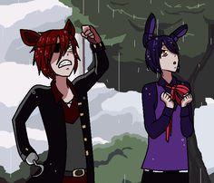 Foxy is all like: Yo Freddy! it's raining! let us in! And Bonnie is just like: Uhhhhh it's rainiiiiiing