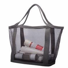 Grey nylon mesh Cosmetic Tote, light-weight.