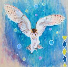 Barn Owl in flight, painting