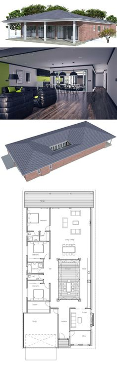 House Plan from ConceptHome.com. Narrow home with private courtyard.