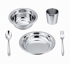 LIANYU 5-Piece Toddler Kids Dinnerware Set, Stainless Steel Childrens Dinnerware Include Plate / Bowl / Cup / Spoon / Fork, Eco Friendly & BPA Free - Dishwasher Safe. For product & price info go to:  https://all4hiking.com/products/lianyu-5-piece-toddler-kids-dinnerware-set-stainless-steel-childrens-dinnerware-include-plate-bowl-cup-spoon-fork-eco-friendly-bpa-free-dishwasher-safe/