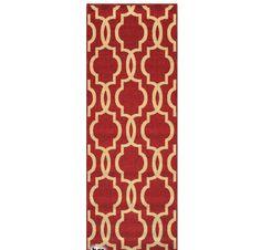 Fancy Moroccan Trellis Non-Slip Runner Rug Rubber Backed x (Red), Red/Beige, Size x (Polypropylene, Stripe)