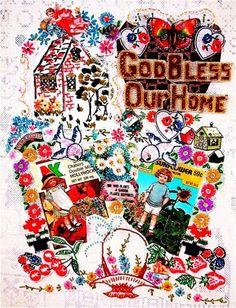 GOD BLESS Our HOME Christian Folk Art --mybonny fabric collage art
