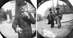 Estudante de 19 anos esconde câmera espiã em sua roupa para tirar fotos na rua na década de 1890
