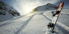 Snowboard In The Snow: That is awesome! Snowboard stuck in the snow with the tracks leading up the mountain and the sun glaring brightly from behind the mountai Snowboarding Mountains, Snowboarding Tips, Ski And Snowboard, Snowboarding Tattoo, Snowboard Equipment, Winter Fun, Winter Snow, Big Mountain, Mountain Wallpaper