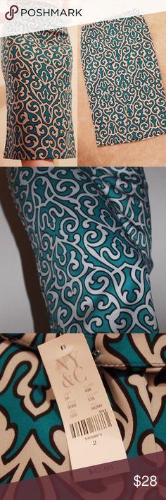 Blue & Black Pencil Skirt Skirt from New York & Company. New with tag. New York & Company Skirts Pencil