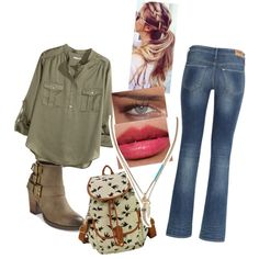 Cute Casual Jean Outfit by sarabray on Polyvore featuring polyvore fashion style H&M Mossimo Banana Republic