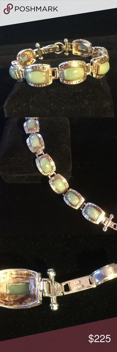 Vintage High End Genuine Jade Bracelet My my my !  Over 50 grams of Sterling silver !  Genuine celery green Jade in a super high quality  bracelet.  Each stone is hand picked for select Grade A color.  Known as celery green Jade is very pricy,  Nothing as fine as this Jade at the mall jeweler Estate Jewelry Bracelets