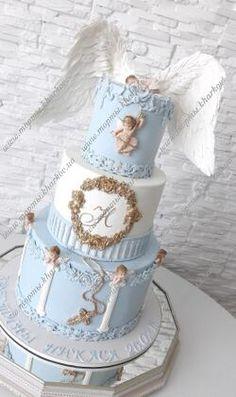 Торт на крестины для мальчика с крыльями ангела Baby Boy 1st Birthday Party, Baby Birthday Cakes, Baby Boy Cakes, Baby Shower Cakes, Girl Baptism Party, Boy Baptism, Christening, Torta Angel, Angel Cake