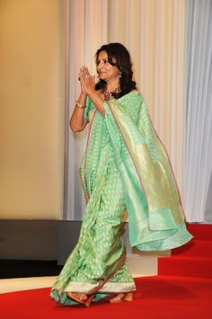 Sharmila Tagore tops our list in her sari-torialist choices. Shop for the perfect reception sari for your mother or mother-in-law with a personal shopper & stylist in India - Bridelan, visit our website www.bridelan.com #Bridelan