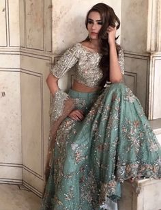 Pakistani bridal dress gold & green by republic womenswear bridal sprin Indian Bridal Outfits, Pakistani Wedding Dresses, Pakistani Outfits, Indian Dresses, Lehenga Choli Designs, Indie Mode, Pakistani Couture, Desi Clothes, Indian Outfits