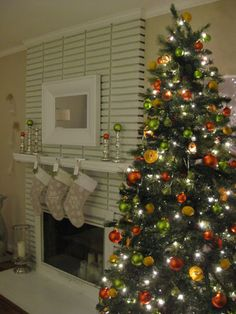 Christmas tree with citrus themed ornaments
