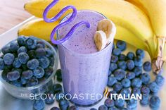 Sweet Blueberry Banana Milk Shake / Smoothie.  3 large bananas, frozen 2 cups blueberries, frozen 2 cups 2% milk, divided 2 tablespoons good honey