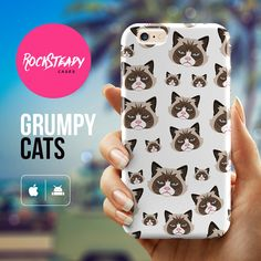iPhone 6 case - grumpy cat pattern phone case by Rock Steady Cases. (Also available as phone cases for the models listed below.)  Stylish, slim,