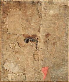 Alberto Burri, Sacco L., Burlap and acrylic on canvas, 39 x 33 Textile Fiber Art, Textile Artists, Abstract Expressionism, Abstract Art, Alberto Burri, Art Informel, Tachisme, Easy Canvas Painting, Bear Art