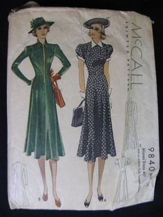 Vintage 1930's Tailored Day Dress Sewing Pattern