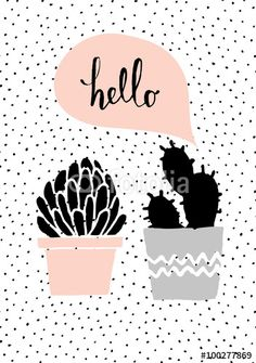 Cute and modern St. Hand drawn cactus plants and speech bubble, dots texture background, black, white, taupe and pastel pink color palette. Wallpaper Rose, Marble Iphone Wallpaper, Trendy Wallpaper, Pastel Wallpaper, Tumblr Wallpaper, Pretty Wallpapers, Wallpaper Quotes, Succulents Drawing, Plant Illustration