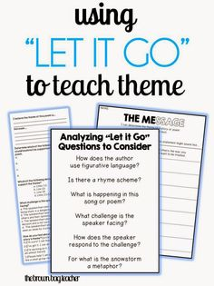"What a great idea to use ""Let it Go"" to teach theme. I'm going to have to try this next year."