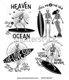 Vector illustration with Skeleton Surfer and Mermaid - compre este vetor na Shutterstock e encontre outras imagens. Skeleton Tattoos, Skeleton Art, Mermaid Skeleton, Tattoo Flash, Surfer Tattoo, Surf Logo, Mermaid Illustration, Surfboard Art, Medusa Tattoo