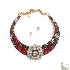 Collar Etnico en Tela con Dije de Brillantes. #oparina #necklace #statementnecklace #billiant #shine #collar #hipoie #boho #bohochic #glam  #madewithstudio