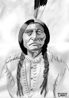 Versão de chefe nativo americano Tatanka Iyotake (Touro Sentado) em nanquim feito pelo ilustrador Dario Taboka.