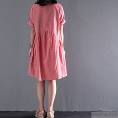 Pink summer plus size dresses short sleeve shift dress casual styleThis dress is made of cotton or linen fabric, soft and breathy, suitable for summer, so loose dresses to make you comfortable all the time.Measurement:  Size M length 88cm / 34.32