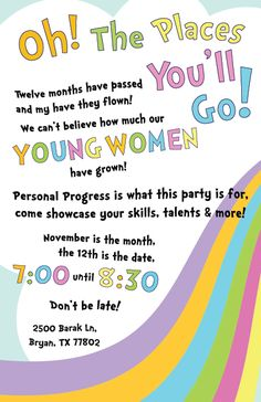 SoBleak: Young Women In Excellence Night - Oh The Places You'll Go! (Dr. Seuss theme) #drseuss #lds