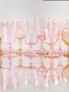 Pink tones of beautiful crystal stemware | Tablescapes & Home D�cor | Pink + Raspberry | Dinnerware | China | Wedding Registry | Ideas | Monogrammed