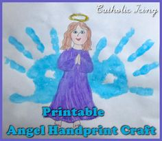 Handprint Angel Craft for kids. Free printable!