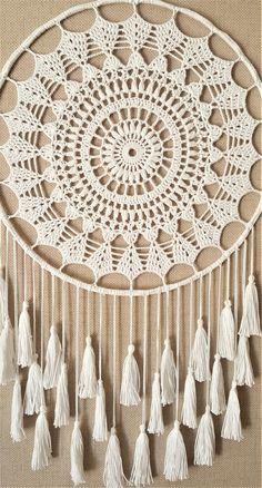 Crochet Wall Art, Crochet Doily Rug, Crochet Wall Hangings, Crochet Mandala Pattern, Crochet Flower Patterns, Doily Patterns, Macrame Patterns, Dream Catcher Patterns, Dream Catcher Decor