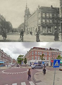 Toen en bijna nu, Jacob catsstraat met de noorderkerk 1907 en bijna nu 2015