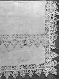 This is a handkerchief from the 16th century, but is very typical of the lace that was used to trim collars, etc. in the 17th century.