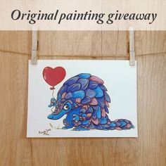Giveaway by Terrapin and Toad. Pangolin gouache painting.