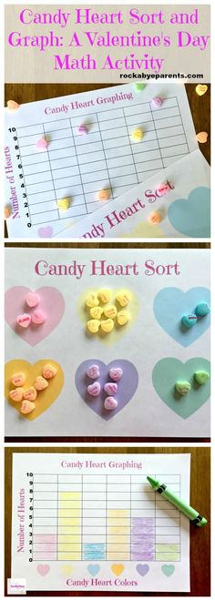 These Candy Heart Sort and Graph printables make for a fun Valentine's Day math activity.