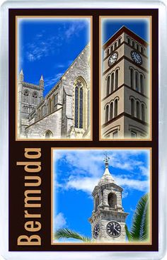 $3.29 - Acrylic Fridge Magnet: Bermuda. Royal Navy Dockyard. Cathedral of the Most Holy Trinity. Parliament Building Tower