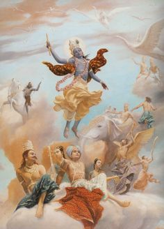 Hindu god Krishna's ascent with devas looking on...in Western renaissance style painting