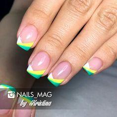 Gel polish French manicure.
