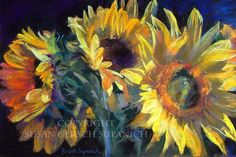 "Art Print - Sunflowers  ""Seeds of Gold"" colorful yellow flower still life painting  11 x 14 print -  Susan Gersch Supanich. $22.00, via Etsy."