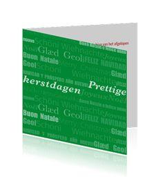 Zakelijke kerstkaart in het groen met teksten