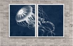Jellyfish Art Print set of 2...will be printed on matte paper. No Matting or Frame are included.    SHIPPING... Packaged in a clear sleeve and shipped