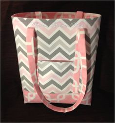 """MARCH SALE - 12"""" x 14"""" Bella Chevron Tote Bag Coordinated Baby Pink Chain - FREE Embroidery by daintydesignsshop on Etsy"""