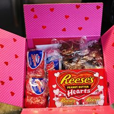 Valentine Care Package for nephews at college: candy, cash, treats, gum,  iTunes card, toiletries ect...have my boys decorate inside of box with copies of photos