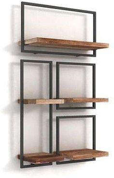Loft Furniture, Iron Furniture, Home Decor Furniture, Diy Home Decor, Furniture Design, Home Interior Design, Interior Decorating, Wood Shelving Units, Metal Shelves