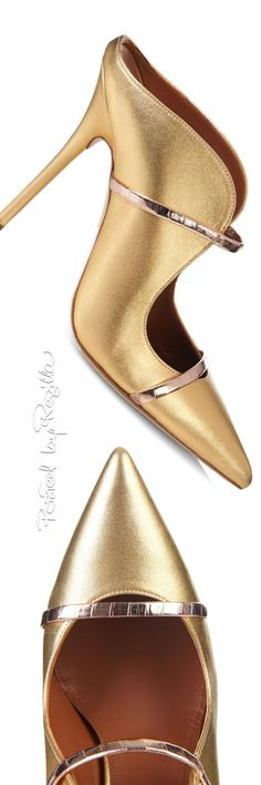 Malone Souliers of London ~ 'Marine' Gold Satin Body Shoe w Horizontal Rose Gold Straps, 2015