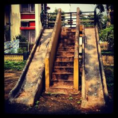 "@arnabito's photo: ""Old playground slides in Golf Green, Calcutta, India"""