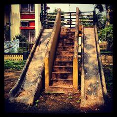 "@arnabito's photo: ""Old playground slides in Golf Green, Calcutta, India"""
