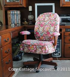 Office Chair Slipcovers tutorial. Links to site with sofa, settee, and chair slipcover tutorials.