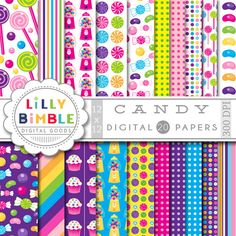 40% off Candy Digital Paper lollipops jelly beans by LillyBimble