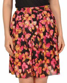 Fusta neagra cu imprimeu fluturi My Style, Floral, Skirts, Fashion, Moda, Fashion Styles, Florals, Skirt