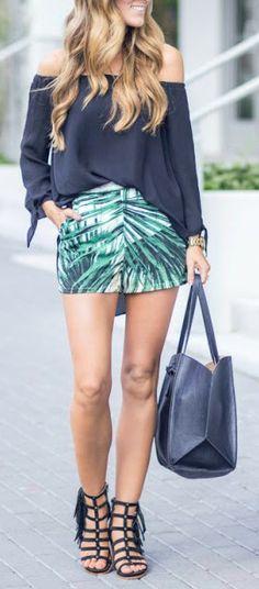 Palm print mini skirt + off the shoulder.